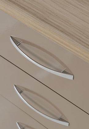 Wynn 3 Drawer Bedside Cabinet (Oyster Gloss/Light Oak Effect)