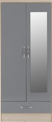 Wynn Mirrored 2 Door 1 Drawer Wardrobe (Grey Gloss/Light Oak Effect)