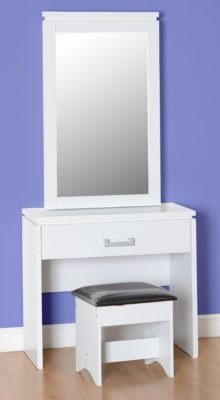 Henry 1 Door Dressing Table Set (White/Black Faux Leather)
