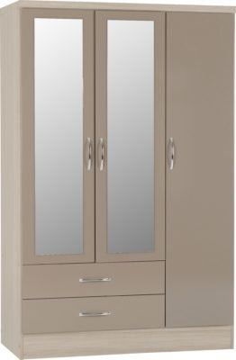 3 Door 2 Draw Mirrored Wardrobe (Oyster Gloss/Light Oak Effect)