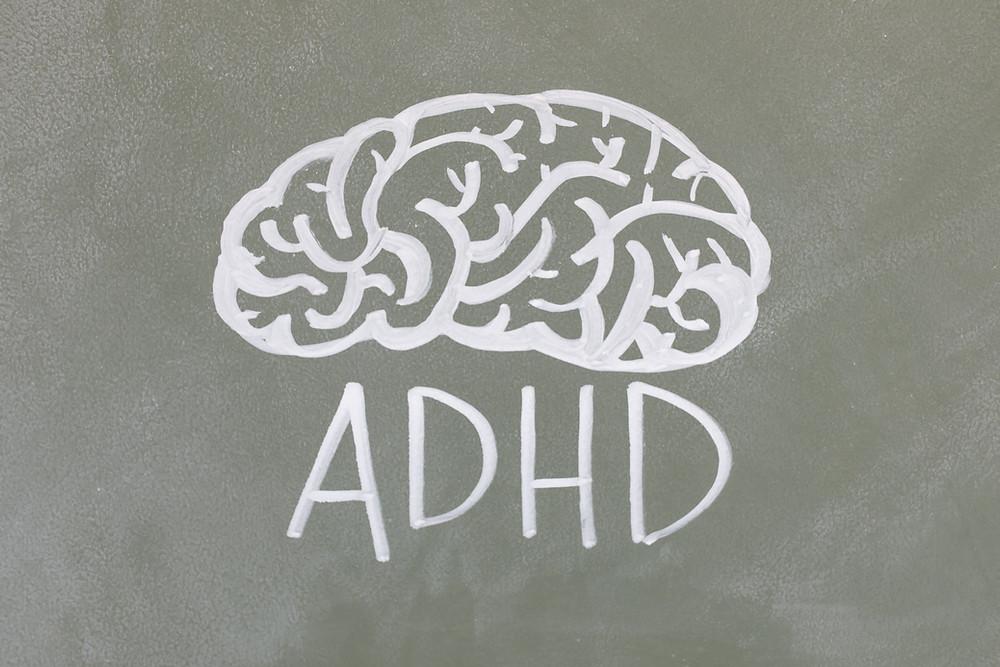Drawing of ADHD brain.