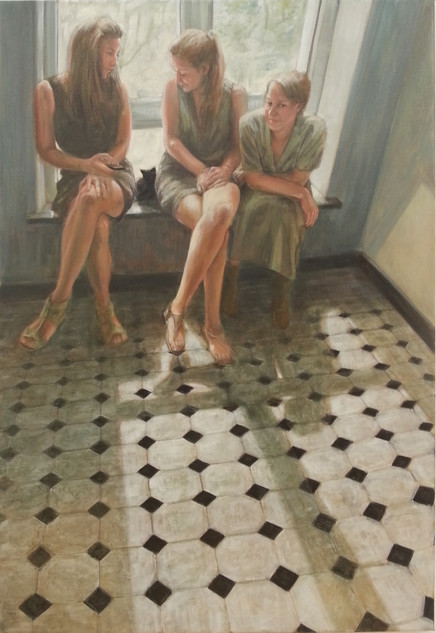 SOLD - Drie meisjes en een kat