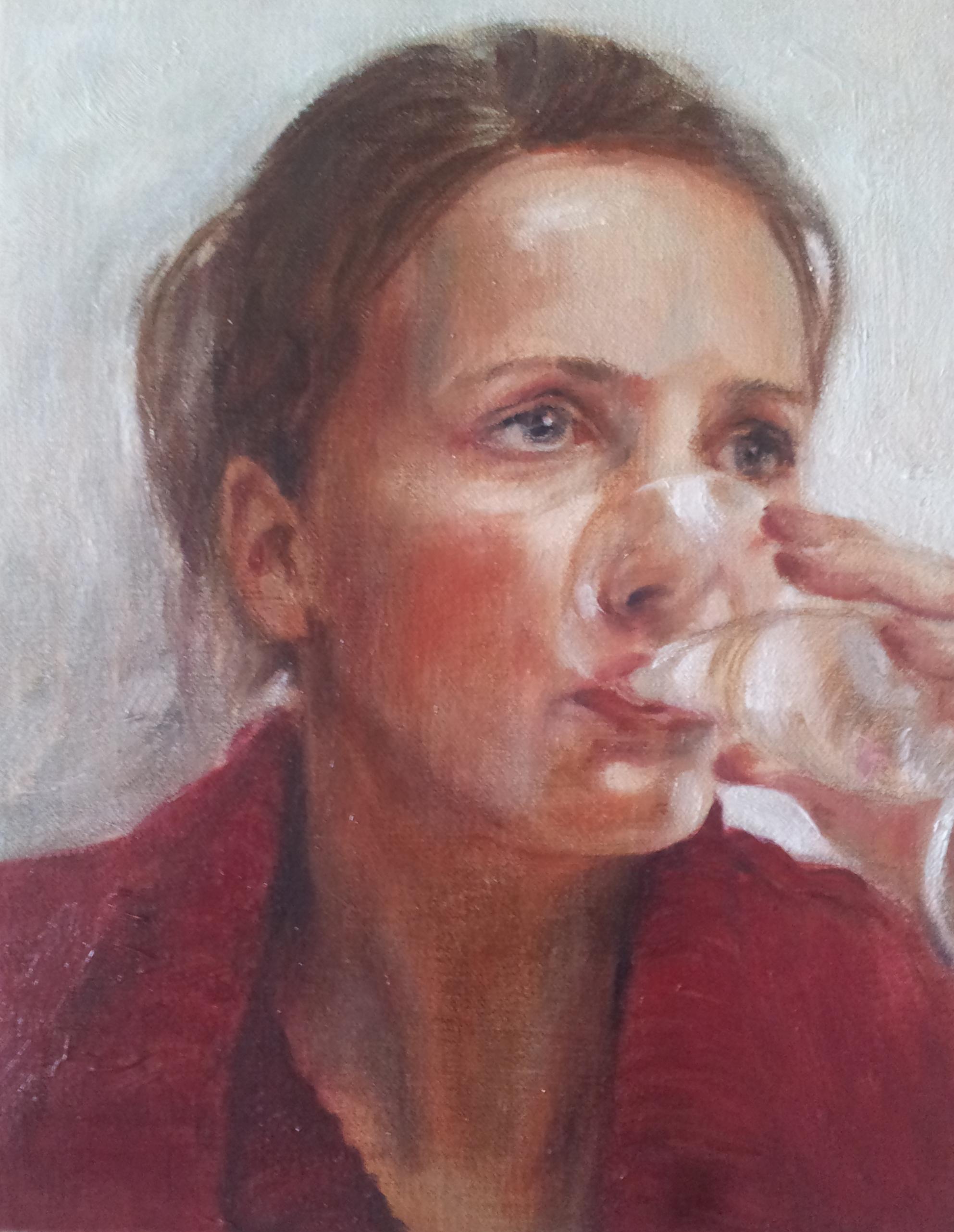 Drinkende dame met Heer