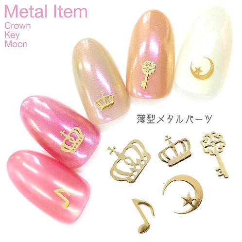 薄型メタルパーツ [クラウン/王冠/音符/ムーン&スター/鍵] 10枚入 (ゴールド)