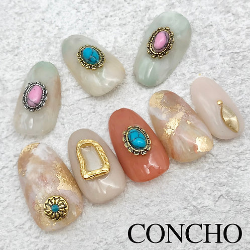 コンチョ オーバル 天然石×メタル 10個 (ゴールド/シルバー)