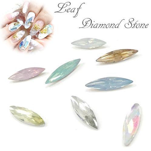 リーフ型ダイアモンドカット・シャンデリア 多面カットストーン 10個入り 8種類