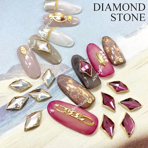[台座付き]ダイヤモンド型・長方形型・ラウンド型ストーン 5個入り
