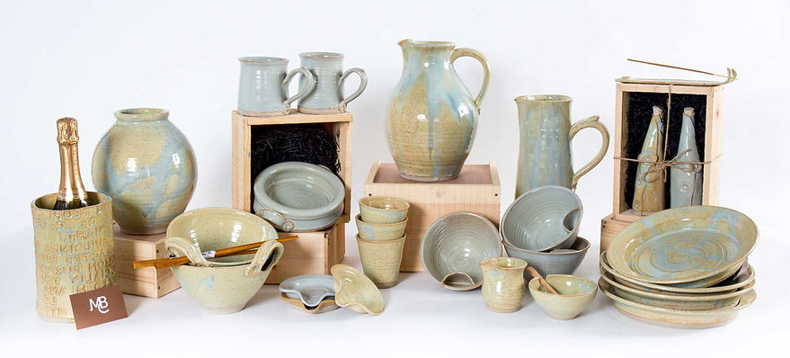 Collection of handmade pottery by Mark Burns Cassell at MBC Ceramic