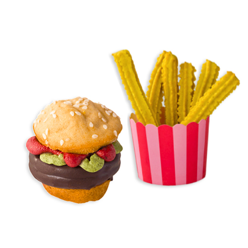 Hamburgerr Pupcake and Fries
