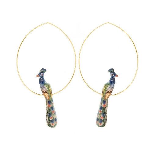 Painted Peacock Earrings