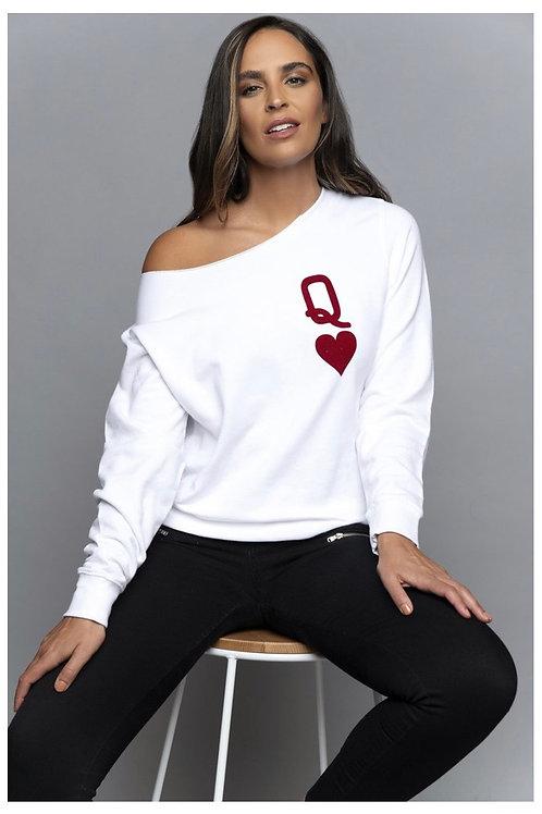 Queen of Hearts Sweatshirt (Wht)