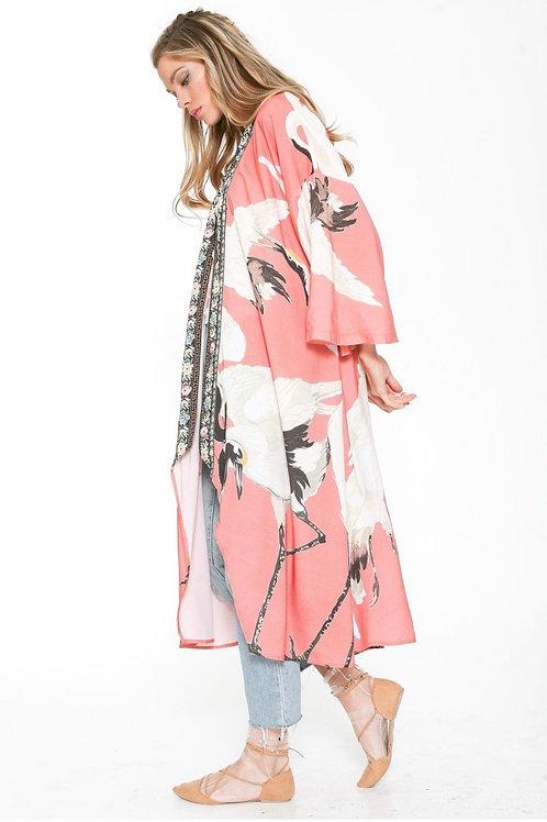 Coral Cranes Kimono