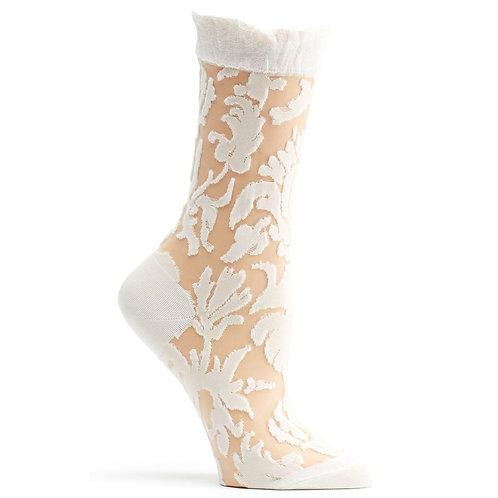 Ivory Damask Sock