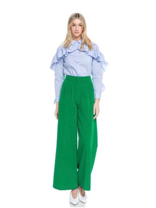 Wideleg Kelly Green Trouser