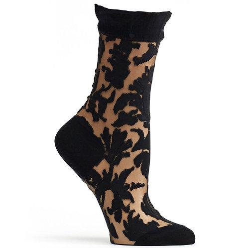 Sheer Damask Sock (Blk)