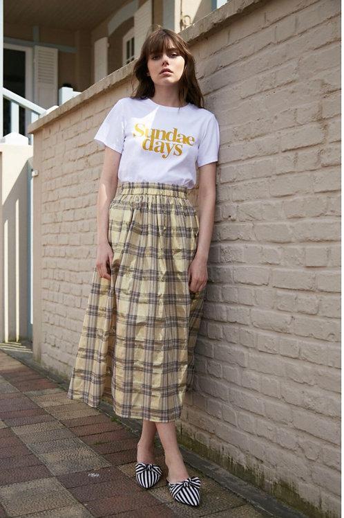 Golden Summer Plaid Skirt