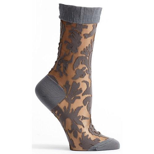 Charcoal Damask Sock
