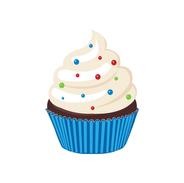 White Cupcake W/Blue Wrapper