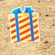 Orange-Red Striped Gift W/Blue Bow