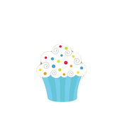 Turquoise-White Cupcake