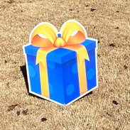 Blue Gift W/Golden Yellow Bow