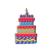 Red Cake with Purple Stripes