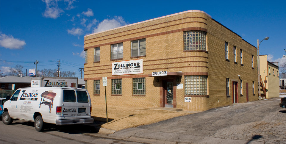 The front of the building where Zollinger Furniture is located.