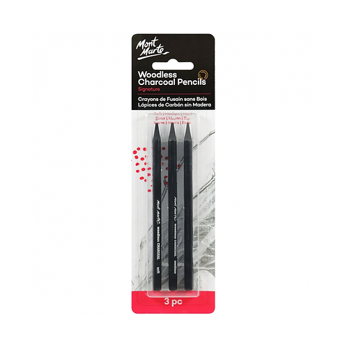 Mont Marte Signature Woodless Charcoal Pencils 3pce