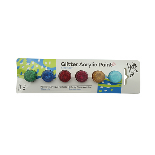 Mont Marte Discovery Glitter Acrylic Paints 6pce x 3.6ml