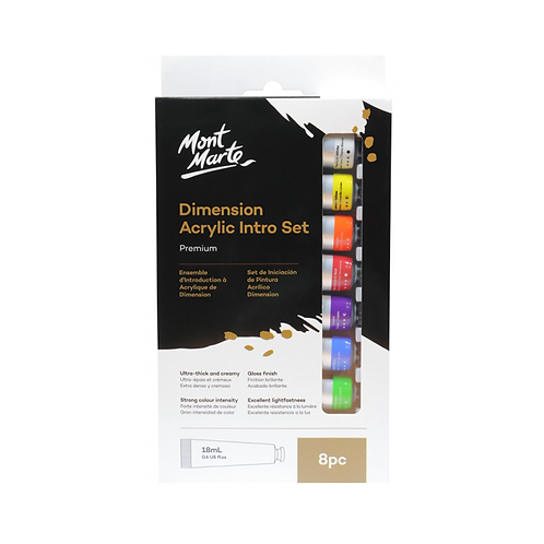 Mont Marte Premium Dimension Acrylic Intro Set 8pc x 18ml (0.6oz)