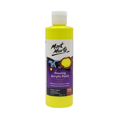 Mont Marte Premium Pouring Acrylic Paint 240ml (8.12oz) - Bright Yellow