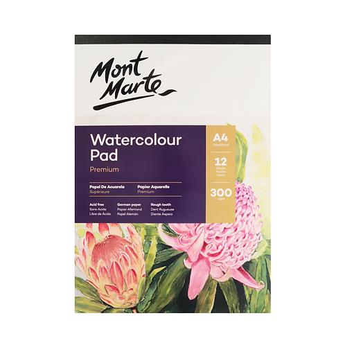 Mont Marte Premium Watercolour Pad German Paper 300gsm A4 12 Sheet