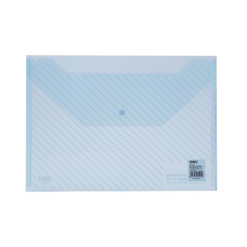 Deli Clear Bag Button File A4