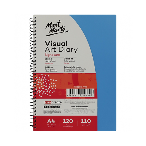 Mont Marte Signature Visual Art Diary PP Coloured Cover 110gsm A4 120 Page