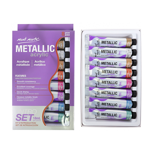 Mont Marte Metallic Acrylic Paint Set 8 Piece