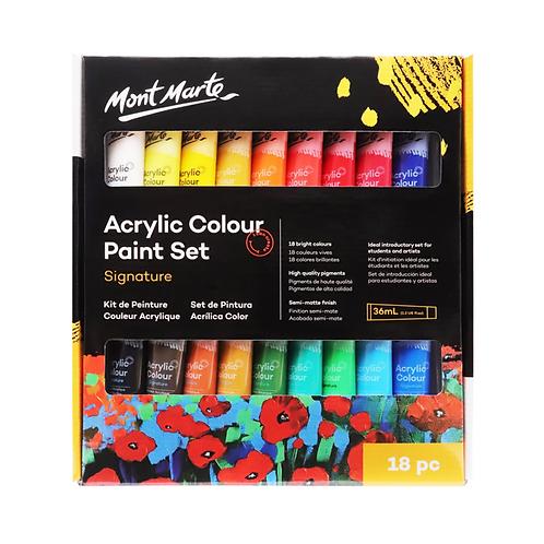 Mont Marte Signature Acrylic Paint Set 18pce x 36ml (1.2oz)