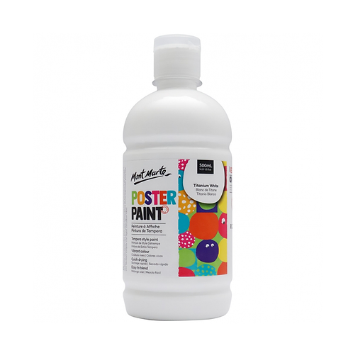 Mont Marte Poster Paint 500ml (16.91oz) - Titanium White