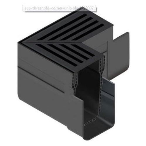 Aco Threshold Drain Corner - Black Aluminium grate
