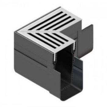 Aco Threshold Drain Corner - Silver Aluminium Grate