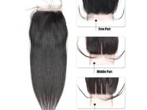 Virgin 4x4 Free/Middle/Three Part Lace Closure Straight