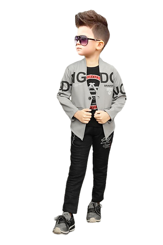 Full Sleeve Jacket with Tshirt and Denim Jeans 3Pcs Party Suit Set for Boys