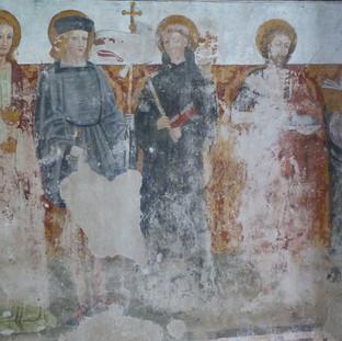 San Giovanni Evangelista, San Maurizio, San Nicola daTolentino, San Giovanni Battista, Sant'Antonio Abate - parete nord