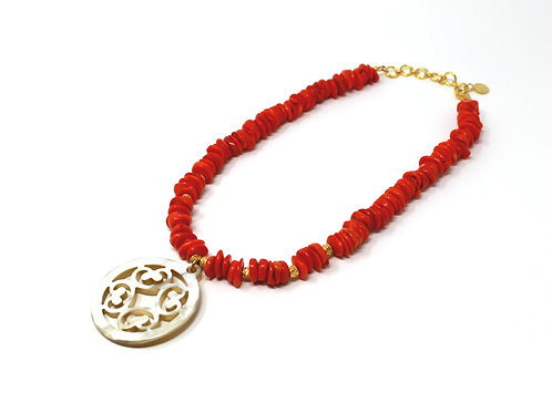 Coral Statement Necklace with Horn Pendant