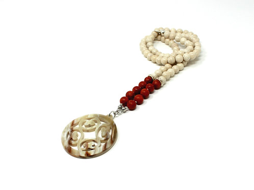 Riverstone & Coral Long Necklace with Horn Pendant
