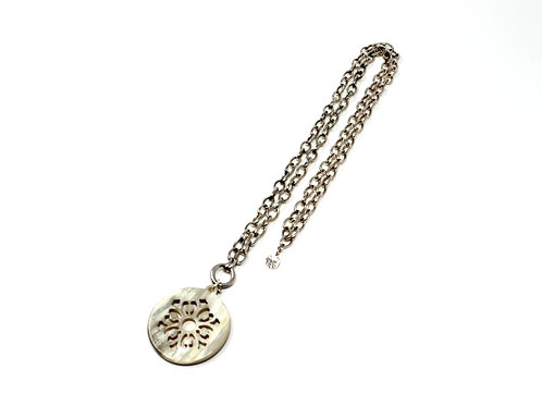 Silver Chain Necklace with Horn Amulet Pendant