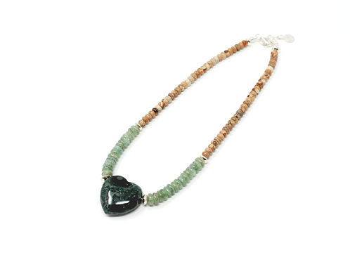 Color Block Heart Necklace (Green-Brown)