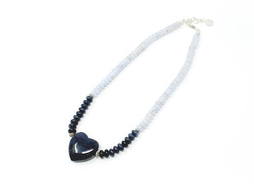 Color Block Heart Necklace (Blue)