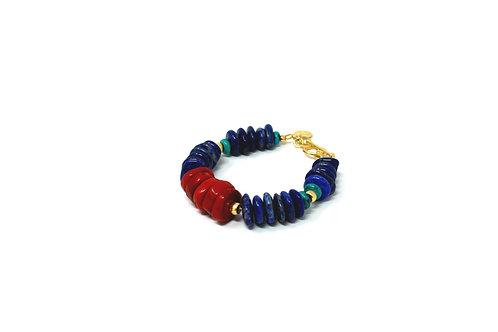 Coral - Lapis Lazuli - Turquoise Statement Bracelet