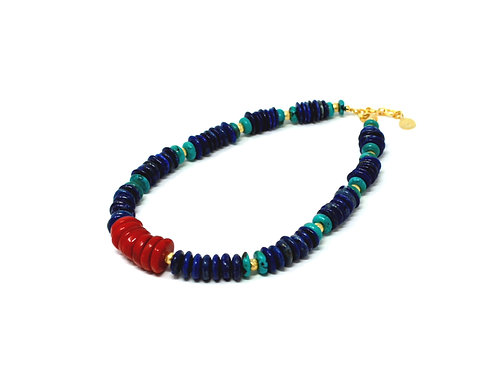 Coral - Lapis Lazuli - Turquoise Statement Necklace