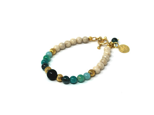 Riverstone Bracelet with Green Hues